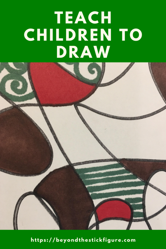 colorful drawing with red, green, brown, and black
