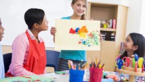 art class and teacher