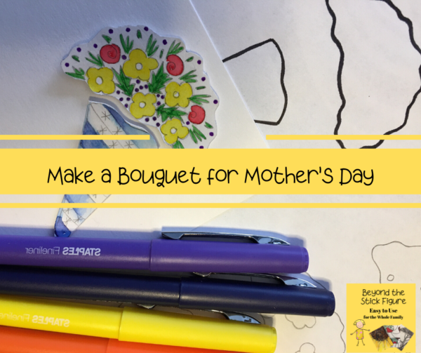 bouquet and pens for mother's day