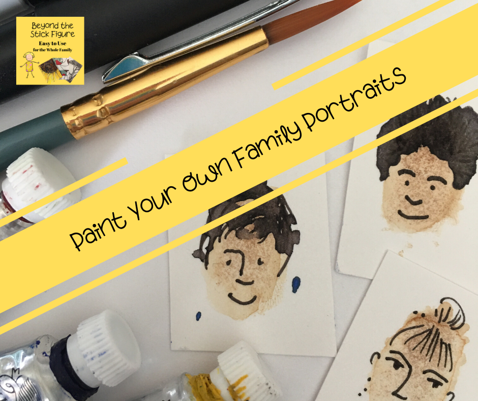 mini family portraits with pens and paint